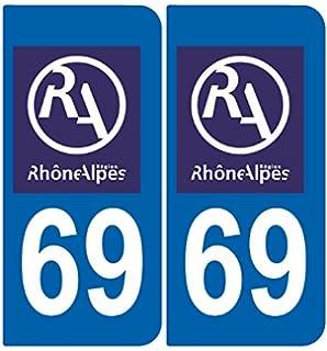 Arrondis Zone-Stickers 2 Autocollants Plaque Immatriculation 69 Auvergne-Rh/ône-Alpes Rh/ône
