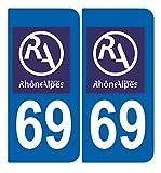 SAFIRMES 2 Stickers Autocollant Style Plaque Immatriculation département 69 RA