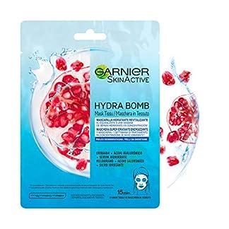 Garnier Skin Active Mask Tissu Mascarilla de Tela Hydra Bomb Hidratante Energizante con Ácido Hialurónico y Granada Antioxidante para Pieles Deshidratadas – 5 Unidades
