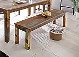 FineBuy Sitzbank KALKUTTA 120 x 45 x 38 cm | Mango Massivholz Esszimmerbank | Landhaus Holzbank für 2-3 Personen | Shabby Chic Bank für Esszimmer-Tisch - Bootsholz