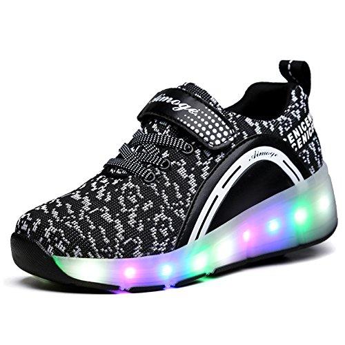 Unisex Schuhe mit Rollen Kinder Skateboard Schuhe Rollschuh Schuhe LED Light Wheels Sneakers Outdoor-Trainer für Junge Mädchen (36 EU, Ein Rad / Schwarz) (Skate-schuhe Herren Skateboard Turnschuhe)