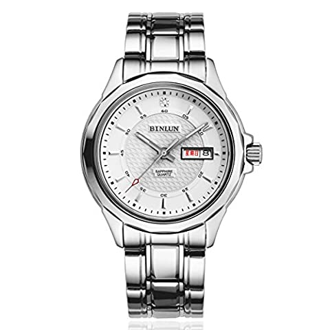 Binlun Men's Silver Tone Stainless Steel White Dial Automatic Mechanic Officer Watch with Day and Date