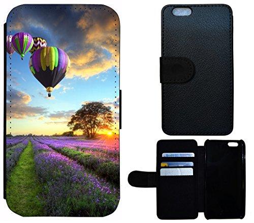 Flip Cover Schutz Hülle Handy Tasche Etui Case für (Apple iPhone 5 / 5s, 1524 Elefant Sonnenuntergang Afrika) 1519 Heißluftballon Abenteur Natur