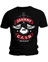 433409efdb2 Johnny Cash Official T Shirt Man in Black Winged Guitar