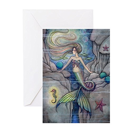 CafePress-Meerjungfrau und Seepferdchen Fantasy Kunst-Grußkarte, Note Karte, Geburtstagskarte, innen blanko, matt -
