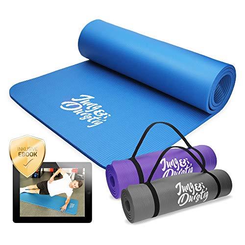 Jung & Durstig Original Yogamatte | Fittnessmatte 180 x 60 x 1 cm | Gymnastikmatte für Pilates, Fitness & Physiotherapie in versch. Farben | Tragegurt für Zuhause und unterwegs (Blau)