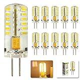 MUMENG 10 Stück G4 3W Led Leuchtmittel 12V LED Lampe 48*3014 SMD Warmweiß Birne 250Lumen 3200K