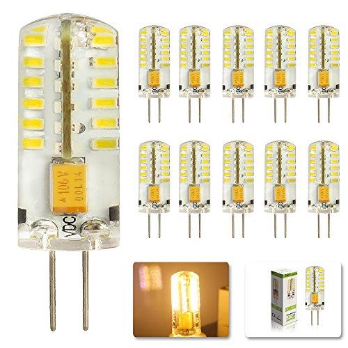 Preisvergleich Produktbild MUMENG 10 Stück G4 3W Led Leuchtmittel 12V LED Lampe 48*3014 SMD Warmweiß Birne 250Lumen 3200K