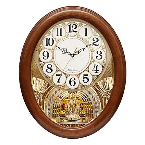 WMY @wanduhr Wanduhr Nicht Ticken batteriebetriebene dekorative Wohnzimmer Dekor Schlafzimmer Holz Quarz musikalische Bewegung dynamische Schaukel Pendel europäischen ovalen Uhren Wall Clock (Musikalische Bewegung Uhren)