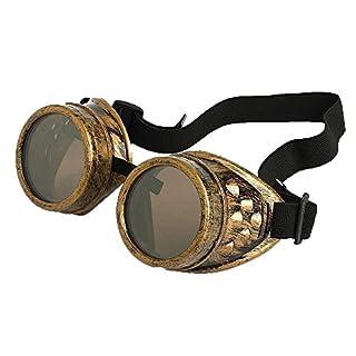 Steampunk Antique Copper Cyber Goggles Rave Goth Vintage Victorian Sonnenbrillen Inklusive GRATIS UV400 Sonnenbrille Objektiv