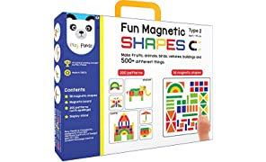 Play Panda Fun Magnetic Shapes (Junior): Type 2 with 58 Magnetic Shapes, 200 Pattern Book, Magnetic Board and Display Stand