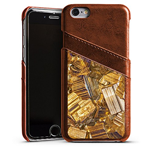 Apple iPhone 6 Housse Étui Silicone Coque Protection Or Pierre précieuse Bijoux Étui en cuir marron