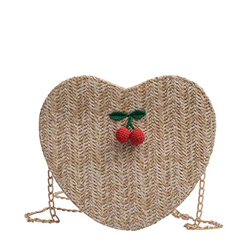Mitlfuny handbemalte Ledertasche, Schultertasche, Geschenk, Handgefertigte Tasche,Damenmode Cherry Zubehör Einfarbig Messenger Bag Love Woven Bag