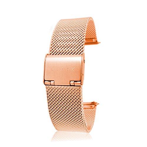 Clarkwatches Uhrenarmband Rosegold 18mm mit Schnellverschluss |Mesh Milanaise Metall Armband Uhren Ersatzuhrenarmband | wechseln ohne Werkzeug