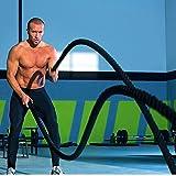 YIFAA Corde de Bataille,38mm Corde d'entrainement Corde de Fitness pour la Musculation Formation (15m Noir)