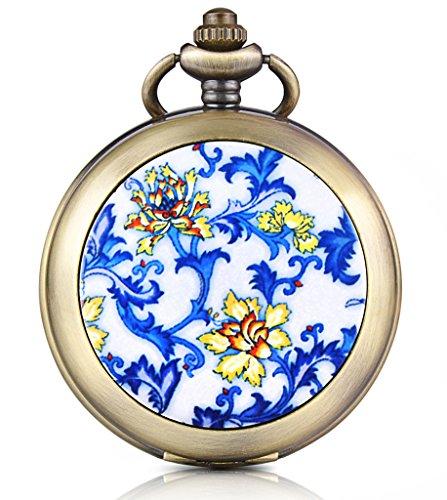 Unendlich U Blaue Gelbe Blumen Foto Medaillon Handaufzug Mechanische Taschenuhr Schwarzes Zifferblatt Skelettuhr Pullover Halskette, beide Ketten