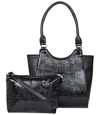ADISA AD4006 black women handbag with sling bag combo