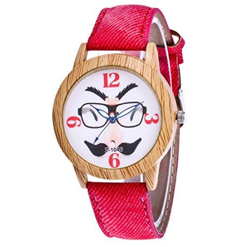 rainbabe rot handgefertigt Lederband Halloween Bart Quarz Analog Armbanduhr 24cm für Frauen