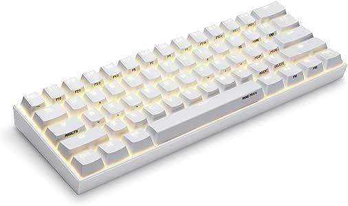 Anne Pro 2 Tastiera meccanica Bluetooth 4.0 Tipo C RGB a 61 tasti, per videogiochi con tasti Switch CherryRed bianco