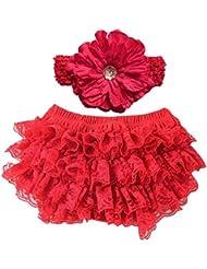 Conjuntos bebés Koly - Mono Niñas, Body para bebés, Pantalones cortos de la falda y flor diadema (S, Rojo)