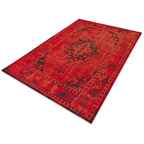 Preisvergleich Produktbild casa pura® Vintage Teppich   viele Größen   im angesagten Shabby Chic Look   für Wohnzimmer, Schlafzimmer, Flur etc.   rot (80x150 cm)