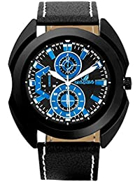 Orlando® Branded Japan Movement Chronograph Look With Black Dial & Black Leather Belt Watches For Men - W1254BBBX
