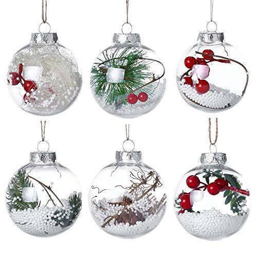 Longra palline per albero di natale chic palla di neve decorazioni natalizie palline di plastica trasparenti ornamenti albero natale decorazioni sospese 12 stili, 8cm