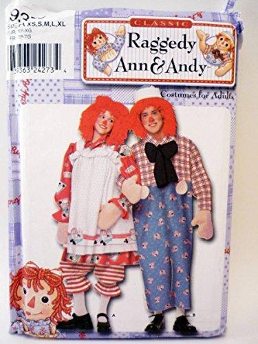 Simplicity 9370 Raggedy Ann & Andy Kostüm für Paare, Größe XS, S, M, L, XL