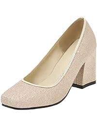 4ac2f81f12af3c AIYOUMEI Glitzer High Heels Pumps mit Blockabsatz Damen Elegant High Shoes