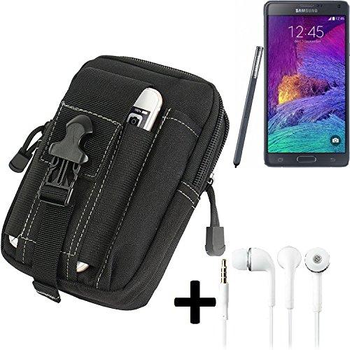 he für Samsung Galaxy Note 4 Gürtel Tasche Schutzhülle Handy Schutz Hülle Smartphone Tasche Outdoor Handyhülle schwarz inkl. Extrafächer + Kopfhörer ()