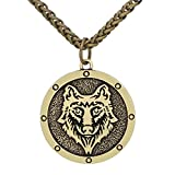 LoverInDeca - Collar de Amuleto con diseño de Lobo de Vikingo para Hombre, con Bolsa de Regalo