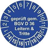 10 Stück Prüfplaketten 30 mm geprüft gemäß BGV D 36 Leitern und Tritte Prüfetiketten 2019-2024 Rollenware stark haftend