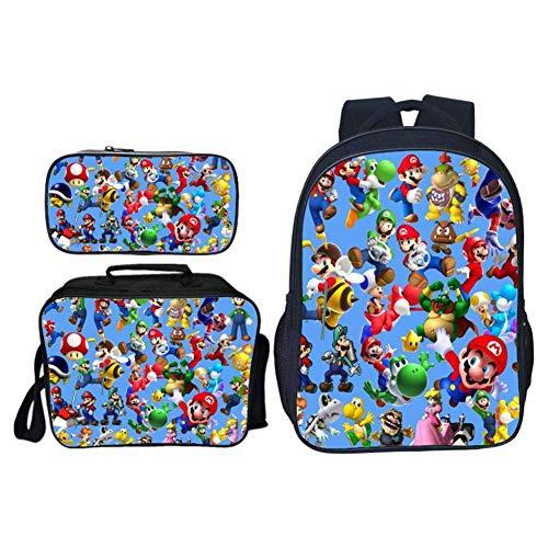 Studenten Rucksack, 3D Cartoon Spiel Mario Bros Muster Schultasche + Lunchpaket + Federmäppchen 3 in 1 Satz 16 Zoll Laptop Rucksack Schulferien Reiserucksack - Neu 5 (Tier-rucksack Mit Rädern)
