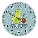 Mr. & Mrs. Panda 30 cm Wanduhr Avocado rollt Kern - Avocado, Avocados,Schwanger, Geburt, Geburtstag, Säugling, Kind, erstes Kind, zur Geburt, Schwangerschaft, Babyparty, Baby, große Liebe, Liebe, Love Wanduhr, Uhr, Kunderuhr, Kinderzimmer, Rund, Druck