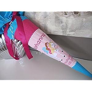 #164 Elfe auf Einhorn rosa-türkis-pink Schultüte Stoff + Papprohling + als Kissen verwendbar