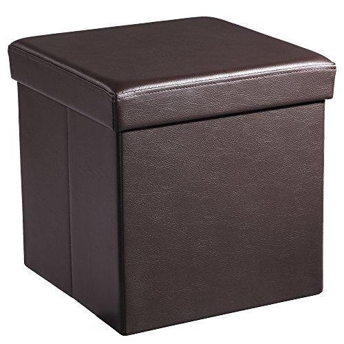 Songmics 38 x 38 x 38 cm Baúl Puff Taburete para almacenaje Plegable Carga máxima de 300 kg Marrón LSF10B