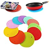 HOME CUBE Silicone Heat Resistant Pot Holder Disc Pads, Multicolour