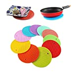 Round Shape Silica Gel Anti Hot Heat Resistant Pot Holder Disc Pads Car Dashboard Anti-Slip-resistant Pad Dining Table Mat Placemat Coasters - Pink Daily kitchen chores need you to handle hot pots, utensils, pans and other hot and cold equipment, and...