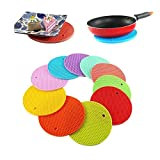 #1: HOME CUBE® Round Shape Silica Gel Anti Hot Heat Resistant Pot Holder Disc Pads Car Dashboard Anti-Slip-resistant Pad Dining Table Mat Placemat Coasters - Set of 4 (Assorted Colors)