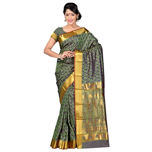 Varkala Silk Sarees Women's Art Silk Kanchipuram Saree With Blouse Piece(JP8110SGV_Pastel Green_Free Size)