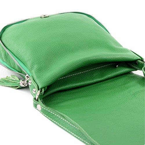modamoda de - ital. Ledertasche Damentasche Umhängetasche Messenger Crossover Leder T06 Grün