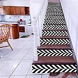 YFXGSTLI Treppen Aufkleber 6 Stück Schwarz Weiß Treppe Treppe Riser Boden Aufkleber DIY Mode Treppen Aufkleber Wandaufkleber Für Wohnzimmer 6 Stücke 18 * 100 cm