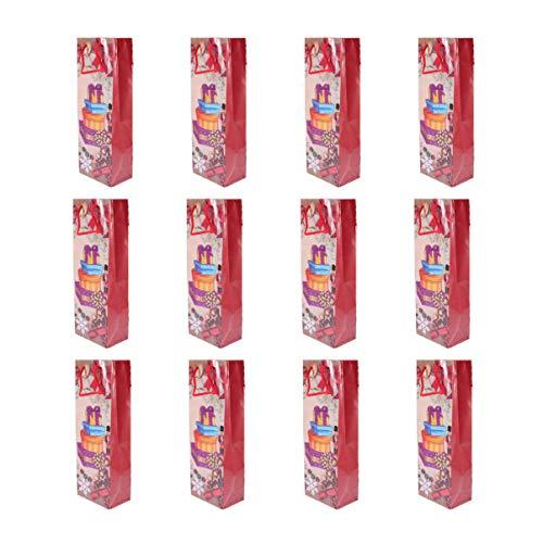 Amosfun 12pcs Christmas Kraft Paper Wine Bags Cookies Wine Bottle Pouch Candy Gift Sacks Santa Claus Snowman Party Favors