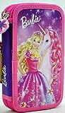 Kinder Federtasche BARBIE EINHORN Federmappe 21 x 12 cm Federmäppchen für Mädchen rosa zwei große Fächer Doppelreißverschluss 26-teiliges gefüllt