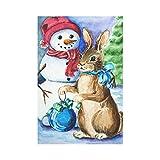 interestprint Weihnachten Karte mit Schneemann und Hase lange Polyester Garten Flagge Banner 30,5x 45,7cm, Aquarell Winter Snow Dekoratives Flagge für Hochzeitstag Home Outdoor Garden Decor