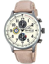 2af367ca717 AVI-8 Men s Hawker Hurricane 42mm Grey Leather Band Quartz Watch AV-4011-