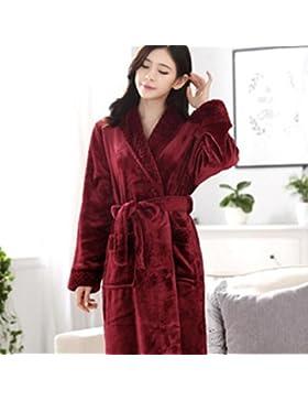 Bearony Suave Long-Type Franela Albornoz Pareja Albornoz cálido camisón Pijamas de Invierno-Vino Rojo (Color :...