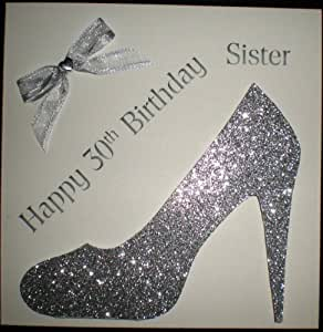 Happy Birthday Card - Happy 30th Birthday Sister Silver Shoe - Handmade Card