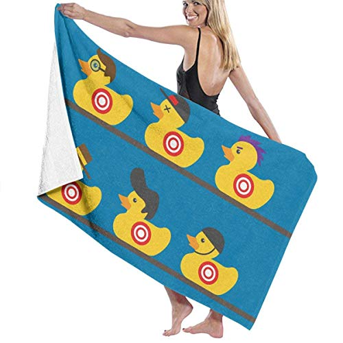 fgregtrg Beach Towels Decor Polyester Fiber Rubber Yellow Duck Art Bath Towels Oversized Soft, High Absorbent, Eco-Friendly Printed Bath Towel,Quick Dry 31.5\