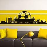 Grandora W890 Wandtattoo Skyline Dortmund I schwarz 165 x 47 cm I Stadt Fußball Fan Verein Wohnzimmer Aufkleber Wandaufkleber Schlafzimmer